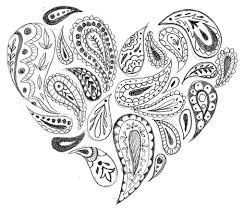 hand drawn paisley coloring pages grown ups love lotus heart
