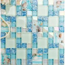 Mosaic Tile For Backsplash by Blue Glass Mosaic Tile Backsplash Crackle Crystal Glass Resin