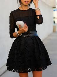 skater dress semi sheer sleeves with lace overlay wide belt