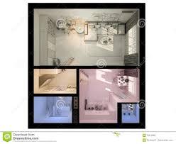 3d visualization of interior design a studio apartment stock