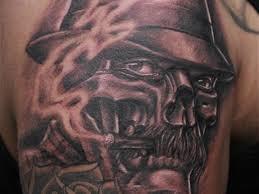 awesome grey ink skull on shoulder