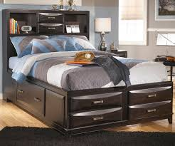 black high gloss polished teak wood storage bed frame with short