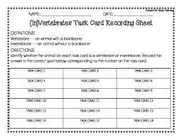 vertebrate vs invertebrate task cards by cloey holzman tpt