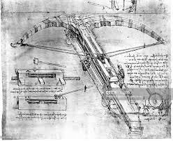 technical drawing of a giant crossbow by leonardo da vinci late