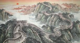 the great wall landscape freehand brush work chinese ink painting