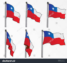Cile Flag Chile Flag On Pole Vector Drawn Stock Vektorgrafik 758581711
