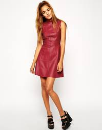 asos a line dress in leather with funnel neck in pink lyst