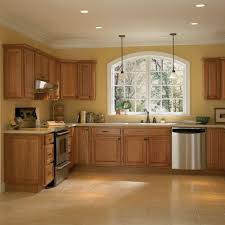 casual style interior kitchen design with solid oak wood cabinet