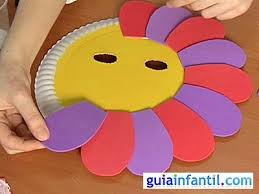 como hacer mascaras en forma de rosa máscara de flor con plato de papel manualidades de carnaval