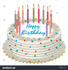 vector birthday cake burning candles stock vector 55020379