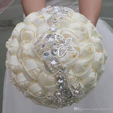 quinceanera bouquets ivory silk ribbon butterfly wedding bridal bouquets artificial
