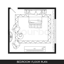 Floor Plans With Furniture Living Room And Kitchen Plan With Hand Drawn Furniture In Top View