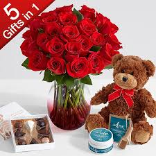 valentines roses two dozen roses with ruby ombre vase chocolates spa