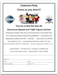 Table Topics Toastmasters Area E4 Costume Party Humorous U0026 Table Topics Speech Contest