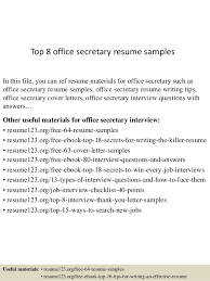 Sample Office Resume by Top 8 Office Secretary Resume Samples 1 638 Jpg Cb U003d1430027744
