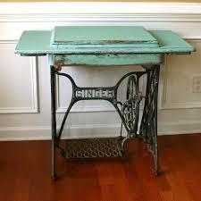 vintage turquoise entryway table desk singer by rhapsodyattic