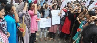 bare breast breast protest against kerala professor