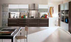 pleasing modern white kitchen design with brown cabinet and of
