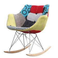 rocking chair w colorful fabric print in abs frame aptdeco