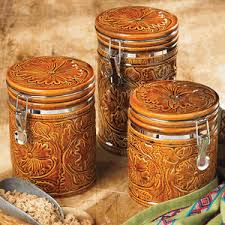 western kitchen canisters tooled ceramic canister set 3 pcs lone western decor