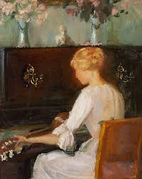file young woman playing a guitar before a piano anna ancher jpg