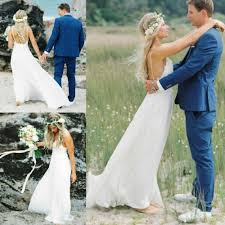 aliexpress com buy bohemian backless lace beach wedding dress