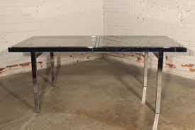 glass and chrome dining table sold vintage milo baughman expandable dining table chrome and