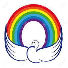 image of a dove with a rainbow as a symbol of world peace