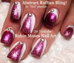 nail art tutorial diy abstract glitter nail design ruffian