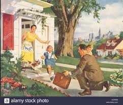 1950s Home 1950s Usa Father Returning Home Magazine Advert Detail Stock