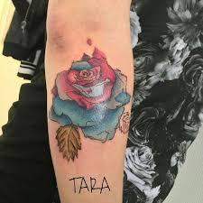 watercolor flower on forearm