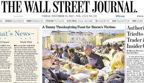 world wall journal front page features photo of