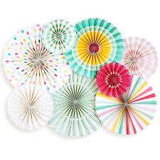 party fans rainbow paper party fan decorations