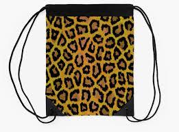 abstract gold black hipster animal print drawstring bags by idolza