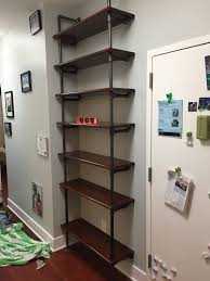 Black Pipe Bookshelf Industrial Pipe Shelving With Oak Stair Treads And 3 4 Inch Black
