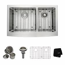 Apron Sinks At Lowes by Shop Kraus Handmade 20 75 In X 32 88 In Double Basin Stainless