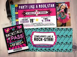 graphic design birthday invitations rock star concert ticket birthday party invitation music