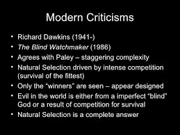 Richard Dawkins Blind Watchmaker As Teleological