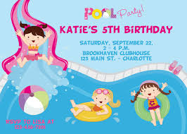 pool party birthday invitation girls pool party water