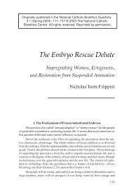 the embryo rescue debate impregnating women ectogenesis and