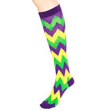 mardi gras socks chevron mardi gras cotton knee socks