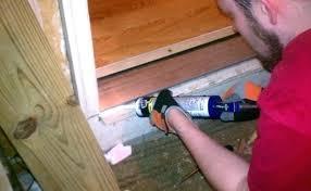 Wooden Exterior Door Threshold Replacing Exterior Door Jamb And Threshold Caulking The Gaps