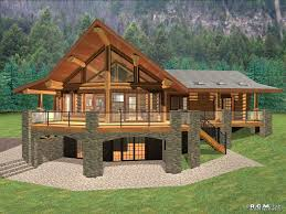 sweet looking log home floor plans with basement open kitchen