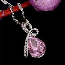 pink crystal pendant necklace images Pink crystal ribbon pendant necklace silver panhandle jewelry jpg