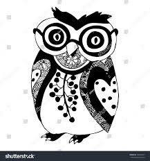 cute owl black white ornamental decoration stock vector 146201057