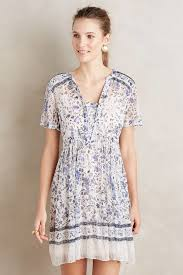 maeve clothing maeve morning swing dress in blue lyst