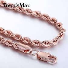 rose gold rope bracelet images Trendsmax rope chain rose gold filled necklace men womens chain jpg