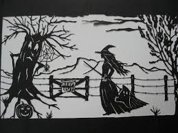 papercut halloween witch ghost spider and spooky tree illustration