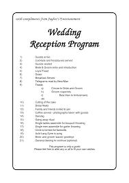 wedding reception program wording wedding program order of reception jaybee s entertainment