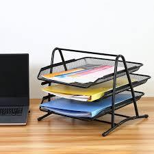 Desk Letter Organizer Office 3 Tier Document File Organizer Rack Desk Letter Tray Mesh